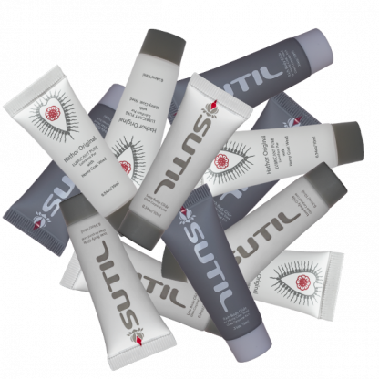 sample bag of Sutil Luxe, Sutil Rich and Hathor lubricant Pure